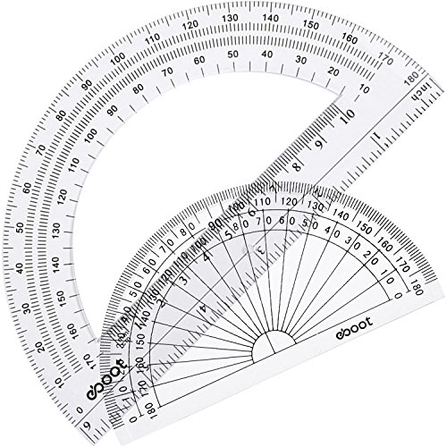 eBoot Plastic Protractor 180 Degree, 4 Inch and 6 Inch, Clear, 2 Pieces Deal (Large Image)