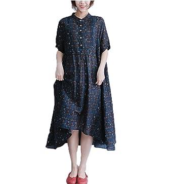 7485a5c53dd Dinier Women s Cotton Linen Plus Size Irregular Checkered Button A-Line  Long Shirt Dress