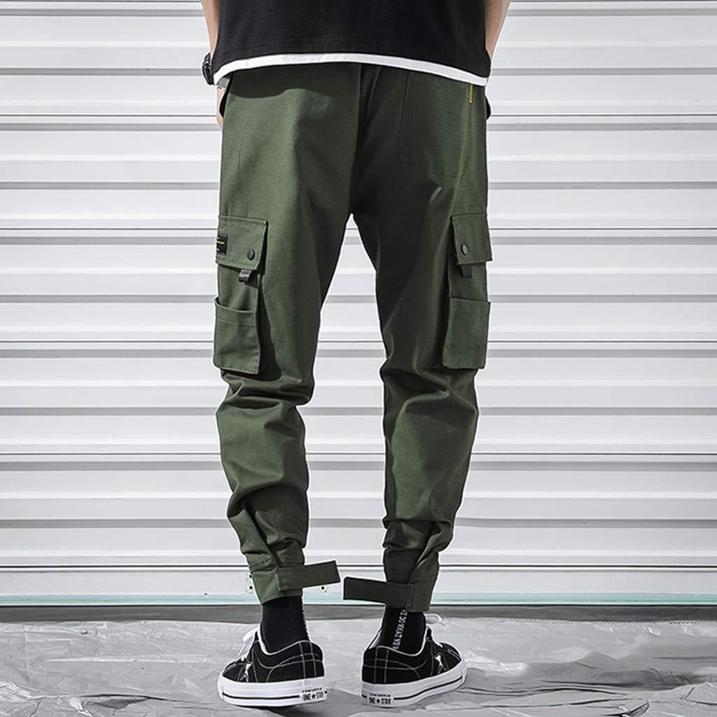 ZhixiaYS Men Fashion Overalls Casual Pure Colour Comfortable Trousers