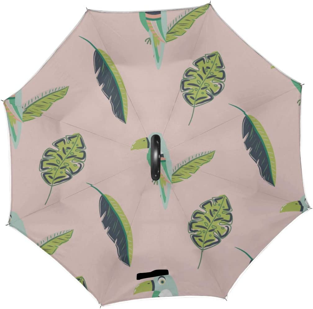 Double Layer Inverted Inverted Umbrella Is Light And Sturdy Toucan Bird Leaves Reverse Umbrella And Windproof Umbrella Edge Night Reflection