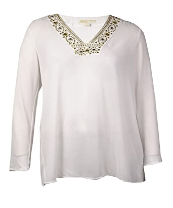 9613d88e7894 Image Unavailable. Image not available for. Color: Michael Michael Kors  Women's Embellished Neckline Solid Blouse ...