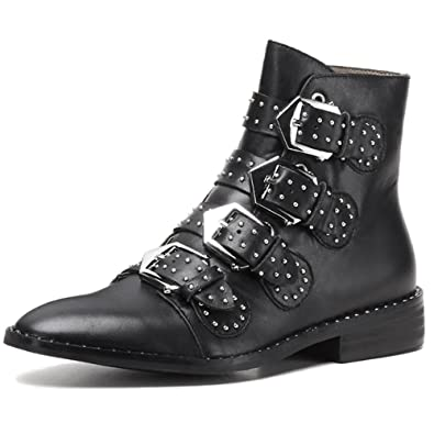 Genuine Leather Women's Pointed Toe Low Heel Studded Handmade Fashion Dress Ankle Booties With Buckles