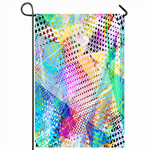 Ahawoso Outdoor Garden Flag 12x18 Inches Geometric Mosaic Festive Colors Triangles Abstract Shape Graphic Batik Continuity Dots Dotted Drawing Home Decor Seasonal Double Sides House Yard Sign Banner