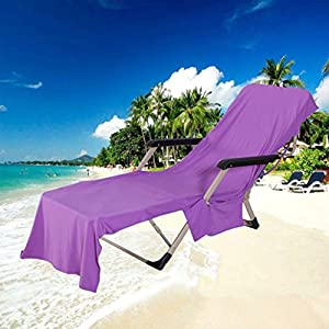 MIFXIN Lounge Chair Beach Towel Cover with Side Storage Pockets Microfiber Lightweight Beach Pool Chair Cover Towel for Sunbathing Sun Lounger Pool Holiday (Purple)