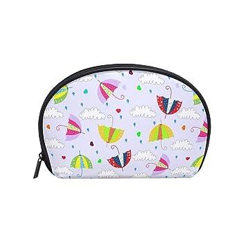1c731fd0abfc Half Moon Cosmetic Makeup Bag Drops Raining Umbrellas With ...