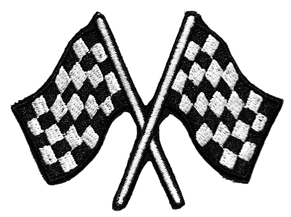 topt mili ecusson drapeau damier checkered course auto moto rallye thermocollant 7x5, 5cm patche badge 1