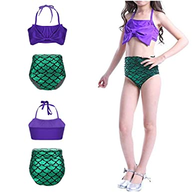 47cbc325dcb38 dPois Kids Girls Mermaid Scale Bow-Knot Tankini Halter Tops with Bottoms  Swimming Costume Swimsuit Swimwear: Amazon.co.uk: Clothing