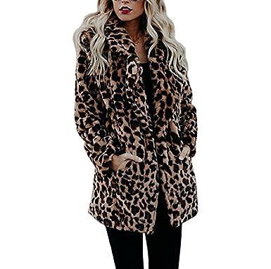 b5e6ccb349cb Pelzmantel Damen Leopard Streifen Jacke mit Tasche bis zu Oberschenkel  Design,AKAUFENG Felljacke Damen Faux Fur Jacke  Amazon.de  Bekleidung