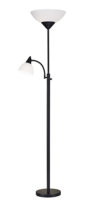 Adesso 7202 01 piedmont 71 torchiere with adjustable reading lamp 2 lights