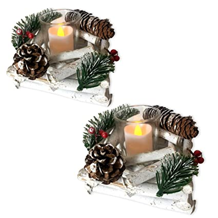 Amazon Com Banberry Designs Set Of 2 Pine Cone Candle Holders Red