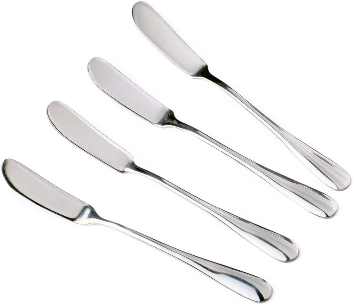 Stainless Steel Cheese Spreader Jam Butter Spreaders Cream Knife Silver, Packs of 4