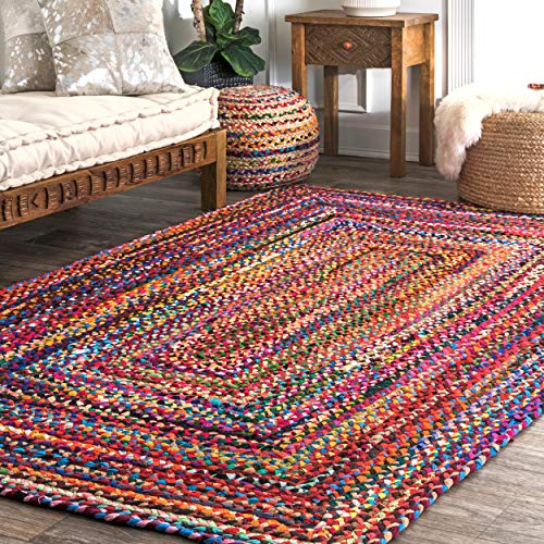nuLOOM Hand Braided Bohemian Colorful Cotton Area Rug, Multi, 3