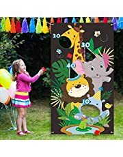 Jungle Bean Bag Toss Game Jungle Animal Toss Game with 3 Bean Bags, Fun Indoor and Outdoor Jungle Party Game for Kids and Adults, Jungle Theme Party Decorations and Supplies for Birthday Baby Shower