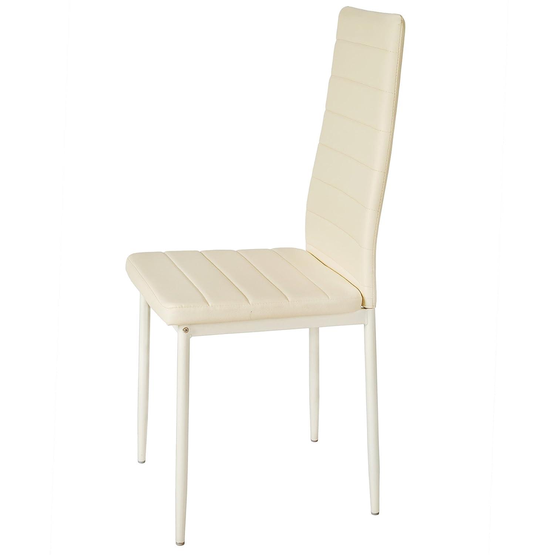 TecTake Set de sillas de Comedor 41x45x98,5cm cantidades - (2X Beige | No. 401842)