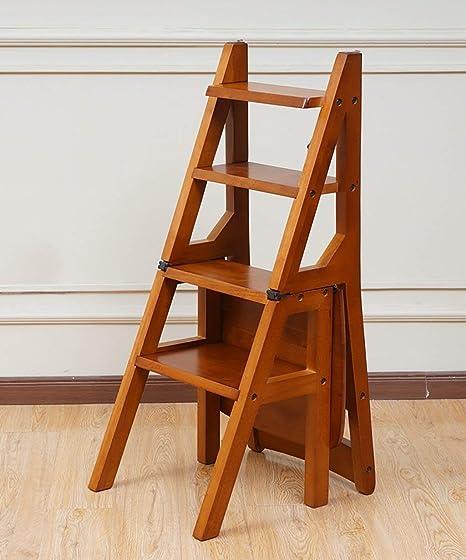 CHHD Escalera de Silla multifunción Escaleras de Silla de Madera Maciza Plegable nórdica Creativa Taburete, Escalera banqueta: Amazon.es: Deportes y aire libre