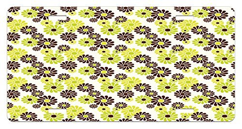 zaeshe3536658 Geometric License Plate, Vibrant Toned Floral Abstract Hippie Pattern Freedom Peace, High Gloss Aluminum Novelty Plate, 6 X 12 Inches. Chestnut Apple Green by zaeshe3536658