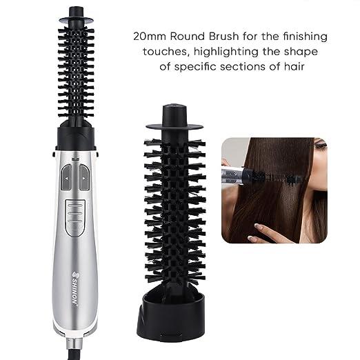 4 en 1 Cepillo de pelo giratorio iónico automático Secador de pelo Enderezado Plancha de pelo Cepillo giratorio Automático para seco y húmedo, 1000-1250W: ...