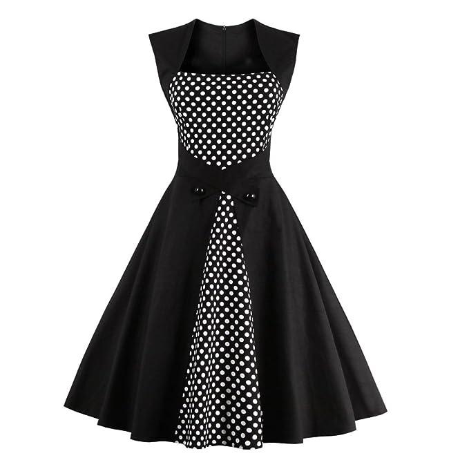 Las mujeres sexy vestido de verano 50s algodón Pacthwork elegante Vestido Vintage Retro parte Casual Rockabilly Sin Mangas Vestidos de giro: Amazon.es: Ropa ...