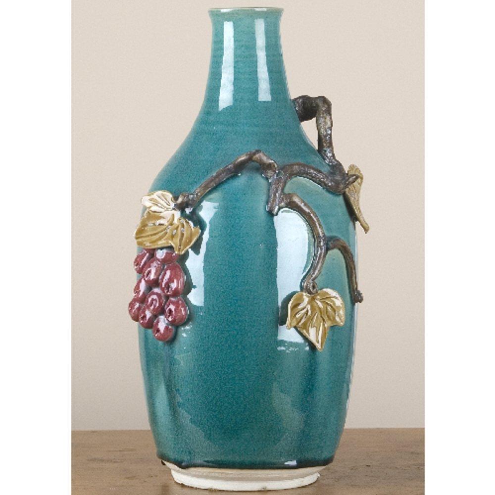 Home decor. Green Ceramic Art Vase. Dimension: 7.5 x 7.25 x 15. Pattern: Majolica.