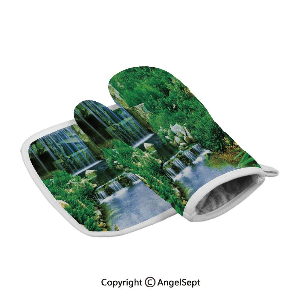 Waterfall Flowing Down The Rocks Foliage Cascade in Forest Valley,Polyster Oven Mitts+Insulated Square Mat,Fern Green Light Blue,Heat Resistant Kitchen Gloves