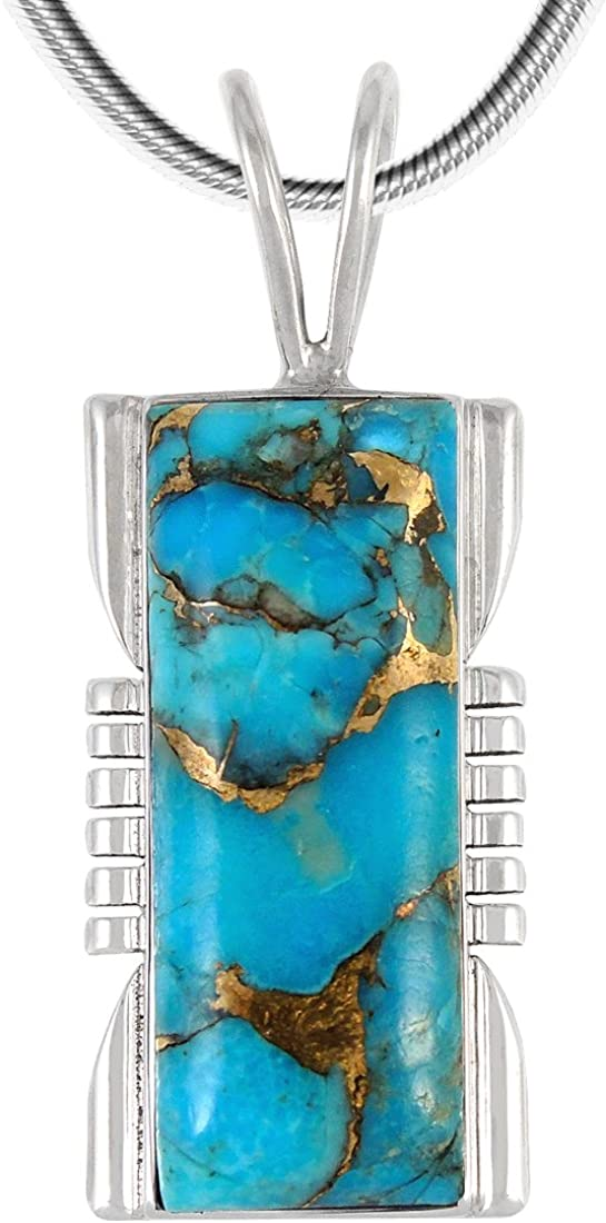 Turquoise Pendant Necklace in Sterling Silver 925 & Genuine Copper-Infused Matrix Turquoise (Select Style)