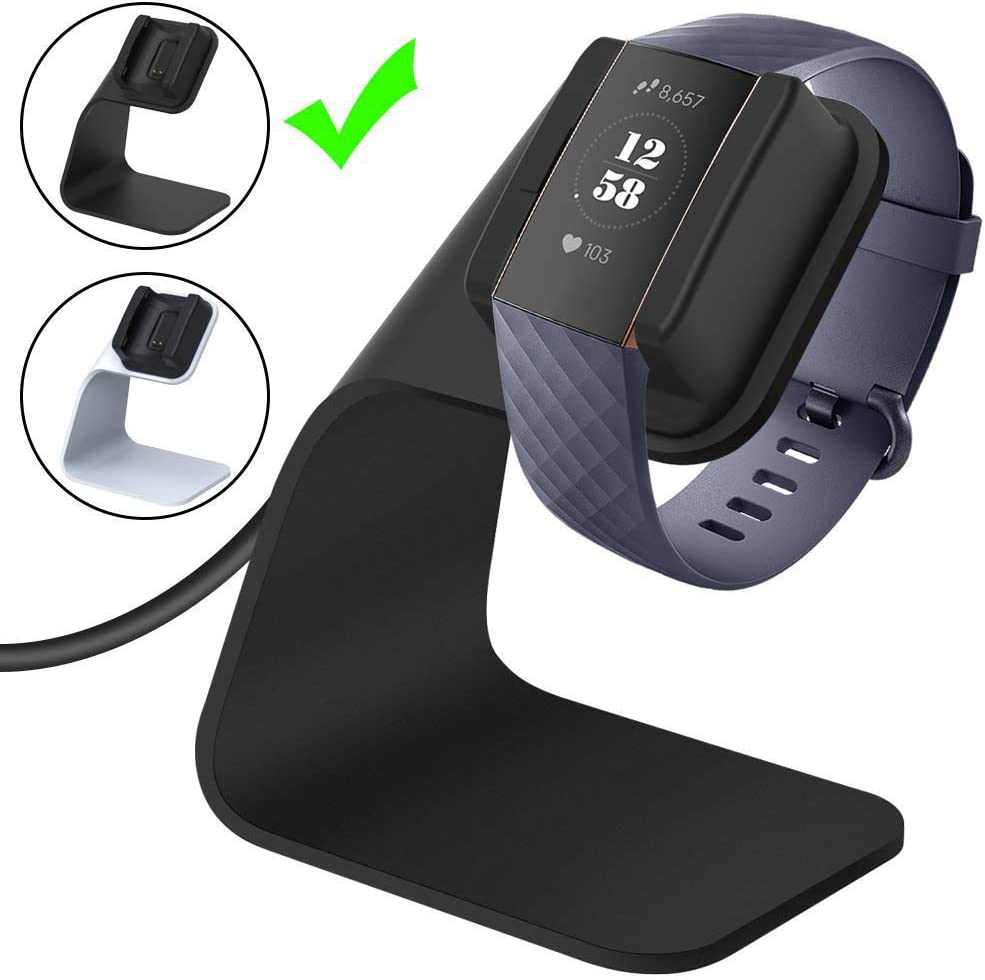 CAVN Charger Dock Compatible with Fitbit Charge 3 / Charge 3 SE, Replacement Charging Cable Cord Stand Cradle Base with 4.2 ft USB Cable Accessories (Black)