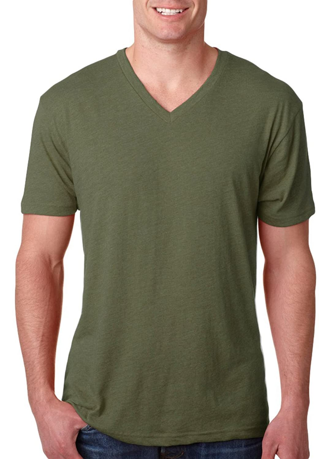 Next Level Mens TriBlend Vee Tee - Military Green - XL