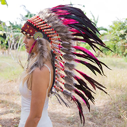 Novum Crafts Feather Headdress | Native American Indian Inspired | Pink