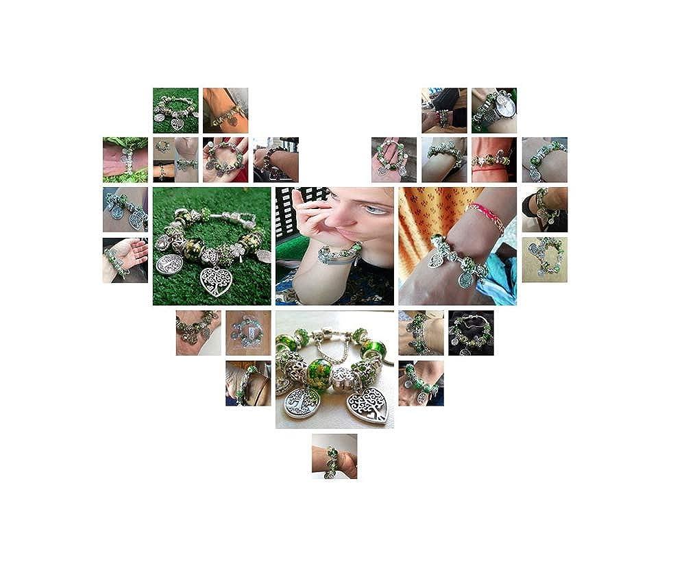 YUSM Charm Bracelet Charm Pan Bracelet Silver Color Heart Flower Bead Bracelets /& Bangles Fashion Jewelry Giftcharm Bracelets for Women Charm Bracelet Kit Mom Charm Bracelet