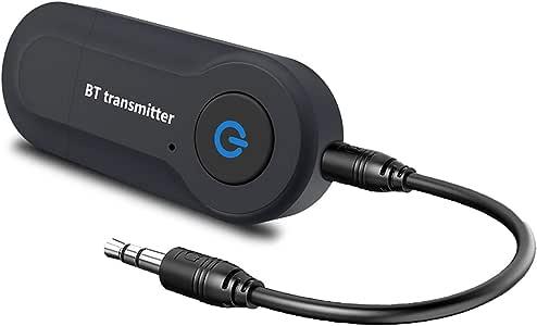 Aigoss Transmisor Bluetooth USB Adaptador de Audio Inalámbrico 3.5mm para TV/Ordenador/ Auriculares/Altavoz, Baja Latencia,Conexión Dual de Salida Estéreo: Amazon.es: Electrónica