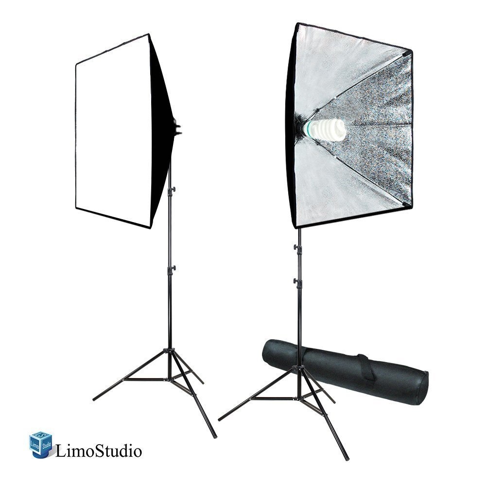 (Certified Refurbished) LimoStudio 700W Photo Video Studio Soft Box Lighting Kit, 24 x 24 Inch Dimension Softbox Light Reflector with Photo Bulb, Photography Studio, AGG814