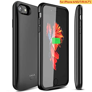 Funda Bateria para iPhone 7 8 6 6s , Recargable 4000mAh Carcasa Bateria Externa Protector Cargador Power Bank Case para Apple iPhone 6s 6 7 8 (4.7 ...