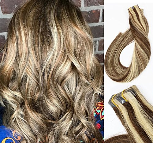 Tape In Hair Extensions Human Hair Two Tone Color Dark Brown Mixed Bleach Blonde 20Pcs 30g Per Set Tape In Human Hair Extensions Silky Straight Skin Weft Remy Hair ( (Two Tone Tape)