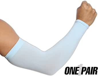 UV Sun Protection Arm Sleeves for Men & Women - UPF 50 Sports Athletic Compression Cooling Arm Cover for Basketball, Running, Cycling, Golf, Baseball & Football - Skin Cancer Foundation Recommended