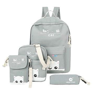 c587cf2381 Amazon.com   4pcs/Set Women Canvas Backpack Teenage Girls Cute Cat Print  School Backpacks Casual Rucksack, Gray   Kids' Backpacks