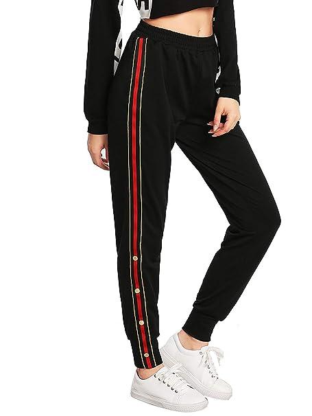 QingFang pantalones de chándal con botones y rayas laterales con ...