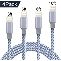 Lightning Cable, 4 Pack charging Cable [3FT 6FT 6FT 10FT] Extra Long Nylon Braided Durable Lightning to USB Cable, Fast Charge and Data Sync Cord for iPhone X/8 Plus/8/7 Plus/7/6 Plus/6/6s Plus/6s/5/i