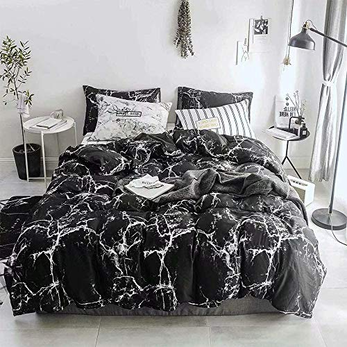 Wellboo Black Marble Comforter Sets Queen Black and White Marble Quilts Full Adults Women Men Bedding Modern Abstract…