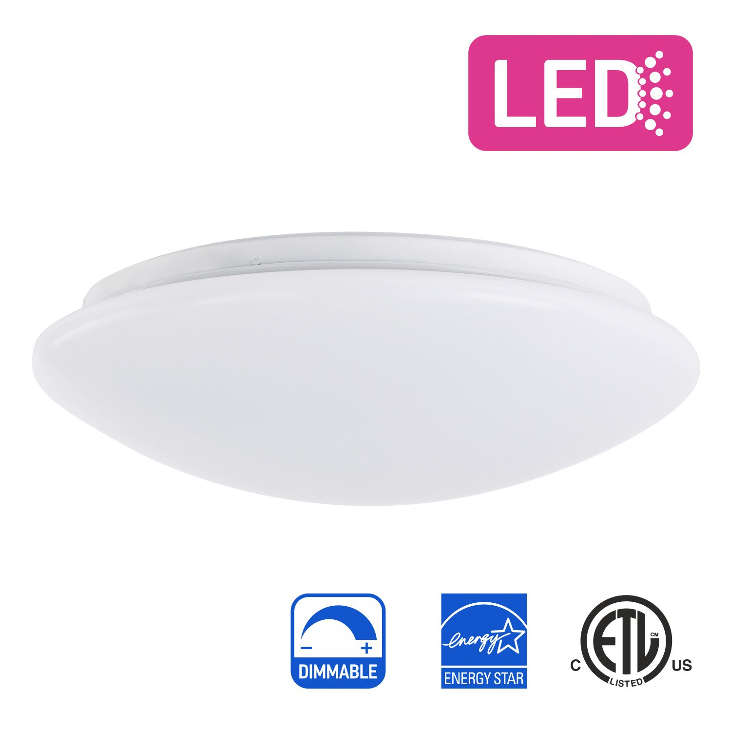 IN HOME 11-inch LED Flush mount Ceiling Light MS Series 20W (100 Watt equivalent), Dimmable, 5000K (Daylight), 1864 Lumens, White Finish with Acrylic shade, ETL and ENERGY STAR listed by IN HOME
