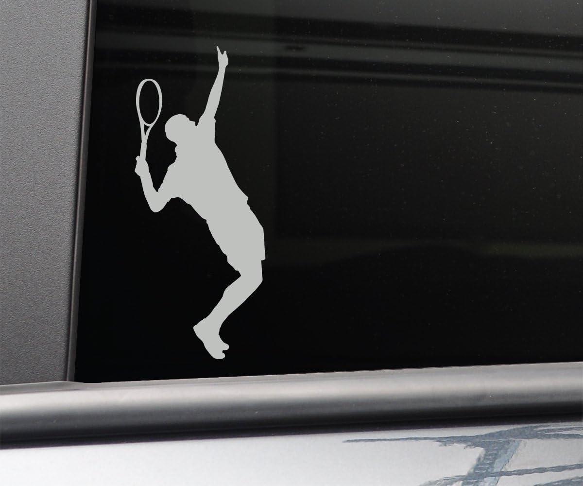 "Tennis Player Male Vinyl Decal Laptop Car Truck Bumper Window Sticker, 6.5"" x 2.75"", Gray"