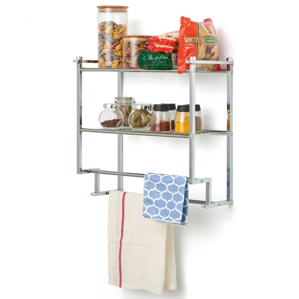 EZOWare 2-Tier Wall Mount Rack, Storage Organizer Shelf with Double Towel Bar Holder for Kitchen, Bathroom - Chrome Finish by EZOWare