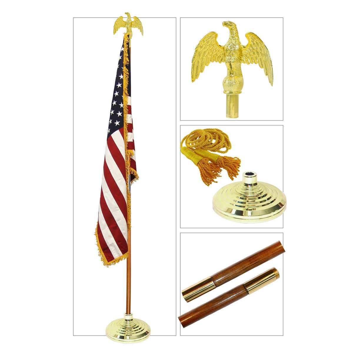 Valley Forge 7ft U.S. Indoor Flag Set by Valley Forge