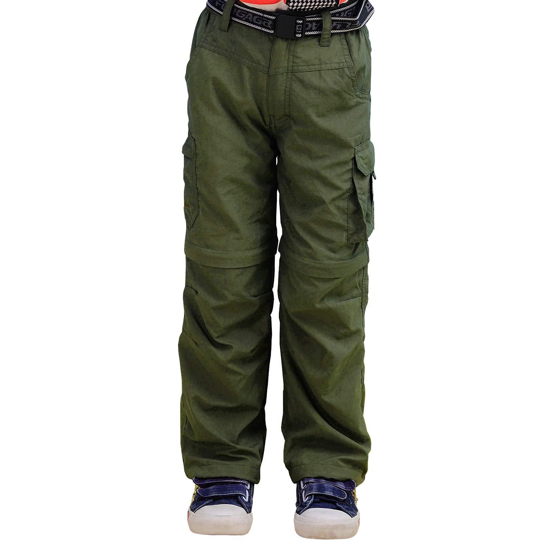 Yutona Boy's Quick Dry Outdoor Convertible Trail Pants Army Green by Yutona