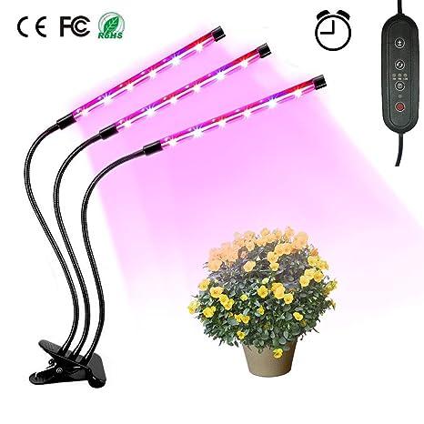 Led PlantasSebami de IP65 para grados Lámpara Plantas Tres Lámpara ajustable LED de Lámpara de Cabezas verduras Plantas de 360 Crecimiento LED QrECBeWdxo