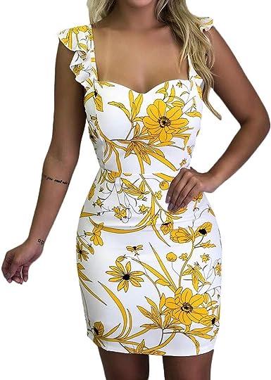 Vestidos Mujer, ZODOF Mini Vestido con Volantes De Correa De Manga Larga De Impresión Casual Vestido De Noche Flojo: Amazon.es: Ropa y accesorios