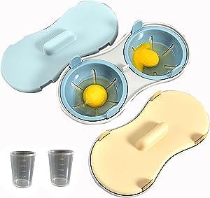 Microwave Egg Poacher Poached Egg Cooker Eggs Steamer Home Gift 2 pack(Blue&Orange)