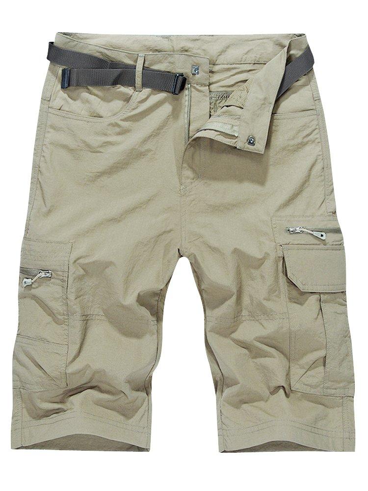 OCHENTA Men's Outdoor Water-Resistant Quick Dry Cargo Shorts Beige Size 3XL - US 36