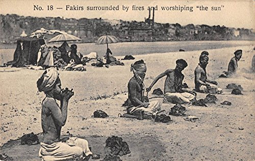 Fakirs Surrounded by Fires Praying Islam Religions Antique Postcard J26380