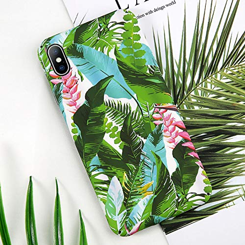Maxlight Flower Phone Case for iPhone 7 8 Plus XS Max Xs Cherry Floral Green Leaf Full Back Cover for iPhone XR Hard PC Cases (G, for iPhone 7 8)