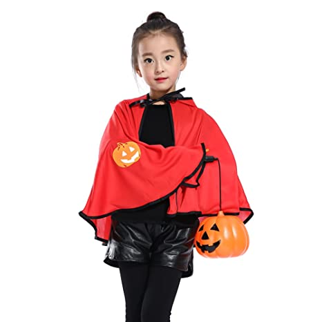 Un capa de Halloween calabaza Imp capa traje Huke con cuerno ...